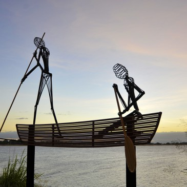 amanda_feher_sculpture_public_art_painted_steel_canoe_people_Silhouette