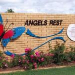 amanda_feher_sculpture_public_art_steel_and_marble_tableland_regional_council_Childrens_Cemetery1_angel's_rest