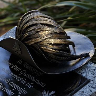 Amanda Feher Public Art Bronze Sculpture Light Horsemans hat - Townsville Grammar Memorial0