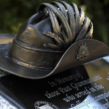 Amanda Feher Public Art Bronze Sculpture Light Horsemans hat - Townsville Grammar Memorial2